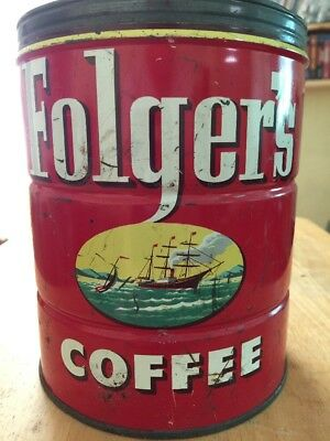 Folgers Coffee Antique Metal Can Lowered Price