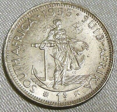 Rare 1953 South Africa 1 Shilling Silver Coin Suid Afrika