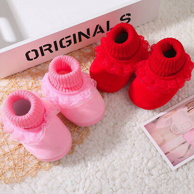 Newborn Baby Girl Winter Soft Soled Lace Solid Print Weave Footwear Crib Shoes
