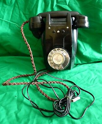 Rare GPO 321L black Bakelite wall telephone with cable - collector's item