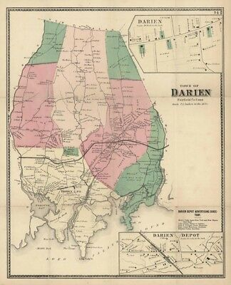 """""""Town of Darien, Fairfield Co. Conn"""" - Map by F. W. Beers - Connecticut"""