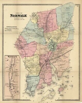 """""""Town of Norwalk, Fairfield Co. Conn"""" - Map by F. W. Beers - Connecticut"""