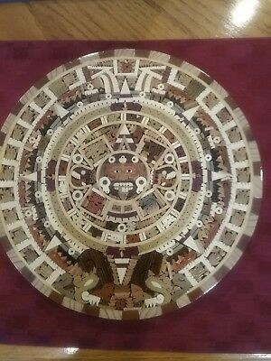 "Cuauhxicalli Aztec Calendar Wooden Inlay Mexico 10 3/4 "" Excellent Condition"