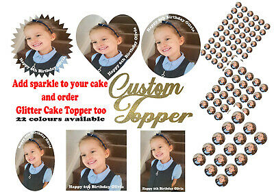 Personalised Photo Design Edible Cake Topper Wafer Icing Sheets + Glitter Topper