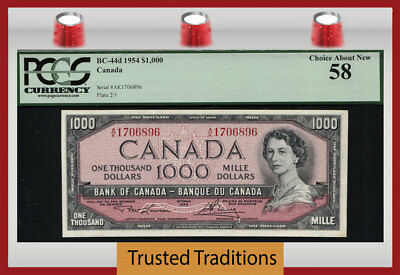 "TT BC-44d 1954 CANADA BANK OF CANADA $1000 ""QUEEN ELIZABETH II"" PCGS 58 CHOICE!"