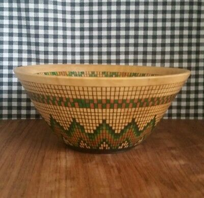 Decorative Wood Bowl, Hand Turned, Burned, & Stained Mosaic Style, Signed, USA