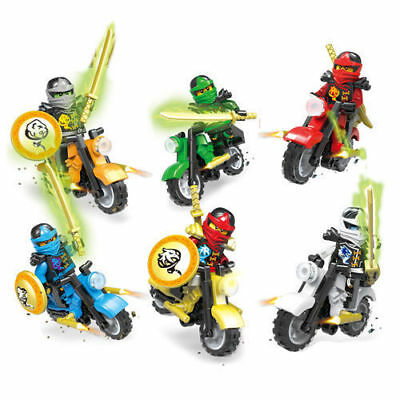 6PCS Ninjago Motorcycle Set Ninja Mini Figures Building Blocks Toys S130