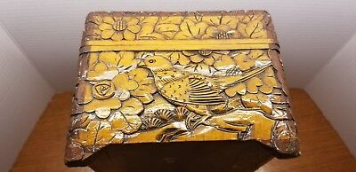 Hand Carved jewlery box With Flowers and Bird design
