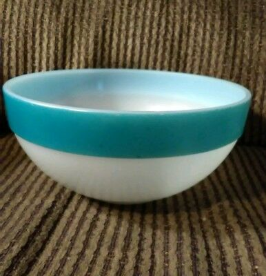 Fire King Turquoise/Teal Colonial Banded Mixing Bowl 7 1/2""