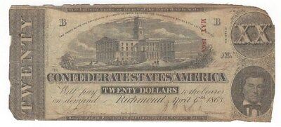 Confederate States Of America 1863 $20 Note From Richmond  Signed Note