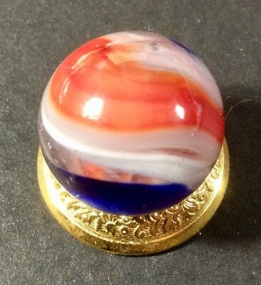 Vintage Akro Agate Red White And Blue Popeye Marble.near Mint .69 Inch