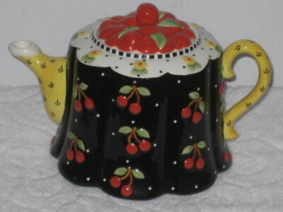 ME INK MARY ENGELBREIT 2001 Full Size VERY CHERRY TEAPOT MICHEL & COMPANY