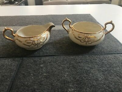 SUPERB ANTIQUE VINTAGE Belleek Willets  CREAMER & SUGAR BOWL Gold Design EXCLLNT
