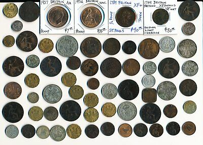 65 Old Uk & Ex-Colony Coins + A Few Tokens (Interesting Odd Lot) No Reserve