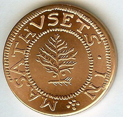 """1652 PINE TREE SHILLING"" 1/2oz COPPER TOKEN  NEAR PERFECT UNCIRCULATED"