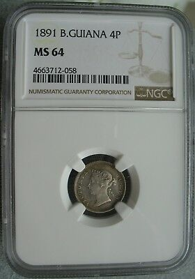 British Guiana & West Indies 1891 Silver 4 Pence NGC MS-64