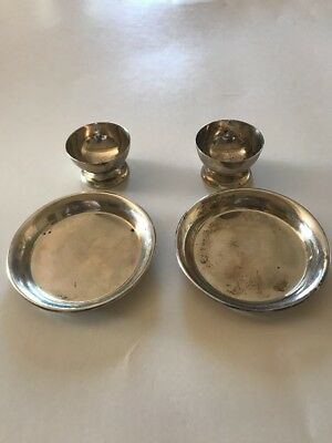 Vintage Set Of (4) 2-3Inch Small Plate And 2 Small Cups Sterling Silver 78 grams