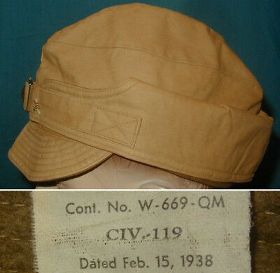 Original 1938 Civilian Conservation Corps Winter Cap CCC size 7 Khaki Variation