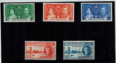 Ascension  Sc#37-9,50-1 (1937/46, Kgvi, Cor'n.,peace Issue) Vf Mnh  Cv = C $4.40
