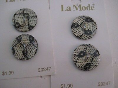 """Sewing Buttons, La Mode, Set Of Four, Black Lace, 3/4"""", Made In France"""
