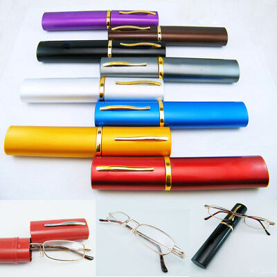 New Men women the same paragraph Metal Reading Glasses 1.00-4.00 With Tube Case
