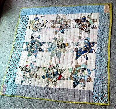 Early 1900's Star Pattern Cotton Quilt, Totally Hand-Sewn,  69 X 75