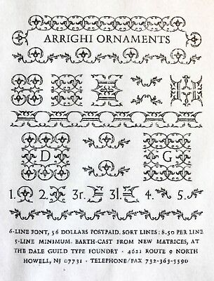 Arrighi Ornaments 18 pt - Letterpress foundry type - Dale Guild Type Foundry