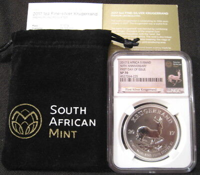 2017 South Africa $1 Rand KRUGERRAND NGC SP70 First Day Issue 1st Year Silver ~~