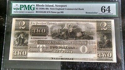 1830's-40's $2 NEW ENGLAND COMMERCIAL BANK OBSOLETE PMG 64