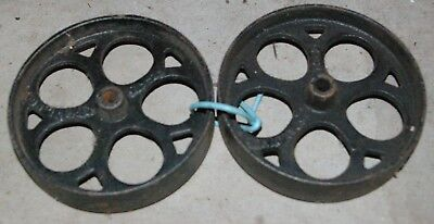 "Set Antique Cast Iron Industrial spoke wheels Spalding T-9-2 4 3/4"" diameter"