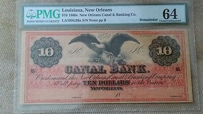 1860's $10 LOUISIANA NEW ORLEANS CANAL AND BANKING CO OBSOLETE PMG 64