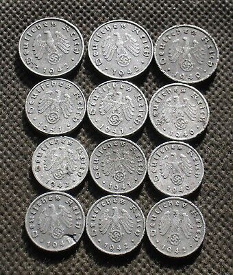 Authentic Old Coins Third Reich Germany With Swastika World War Ii - Mix 976