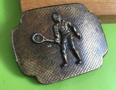"Vintage Solid Brass  Tennis Player Belt Buckle 2 3/4"" X 2"" Original Old"