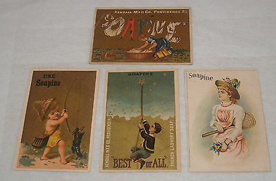 Antique Victorian Advertising Trade Cards Group Lot Soap Soapine Kendall Mfg
