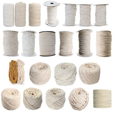 1/2/3/4/5/6/7mm Macrame Rope 100% Natural Beige Cotton Twisted Cord Craft String