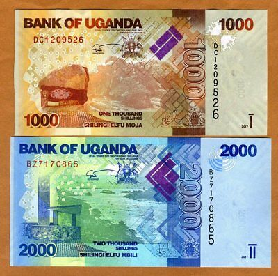 SET Uganda, 1000;2000 Shillings, 2017, P-49d-50d, New Signature, UNC