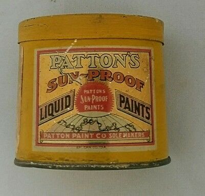 ANTIQUE ADVERTISING TIN CAN BANK Patton's SunProof Paint PA. Paper Label