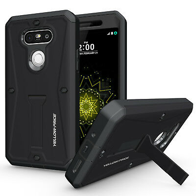Shockproof Hybrid Rugged Cover Armor Stand Case For LG G5 9H Real Tempered Glass