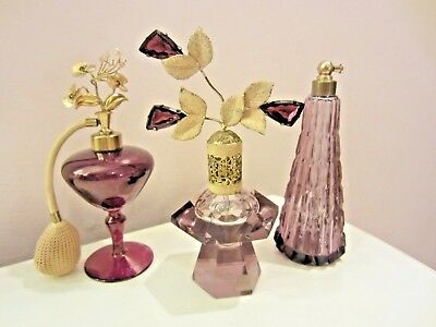 Antique vintage lot of 3 Irice purple Perfume Bottles Atomizer glass brass
