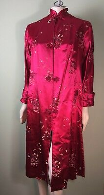Vintage Oriental Red Silk Robe Lined M S L VTG Asian Kimono Dress Luxurious!