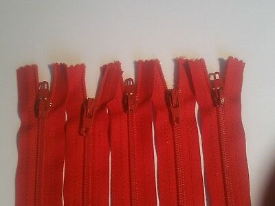 RED YKK Closed End Nylon Zips Sewing Cushions upholstery Crafts 4-22 Inch SUPER