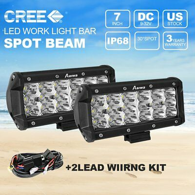 Tri Row 7inch 54W CREE Pods LED Work Light Bar Spot Offroad ATV SUV 4WD + wire