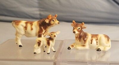 Lot of 3 Family of Cows Bone China Figurines Farm Cattle Bull Calf