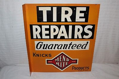 "Vintage 1940's Mend Rite Tire Repair Gas Station 2 Sided 20"" Metal Flange Sign"