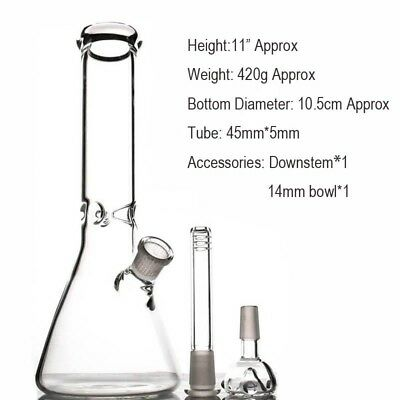 "11.2"" Beaker Glass Bong Simple Glass Bongs with Ice Catcher + FREE SHIPPING"