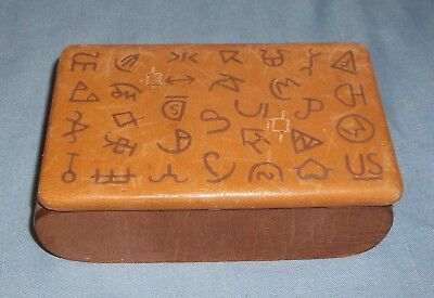 Vintage Wood Jewelry Box Leather Lid w/ Western Cattle Ranch Brands