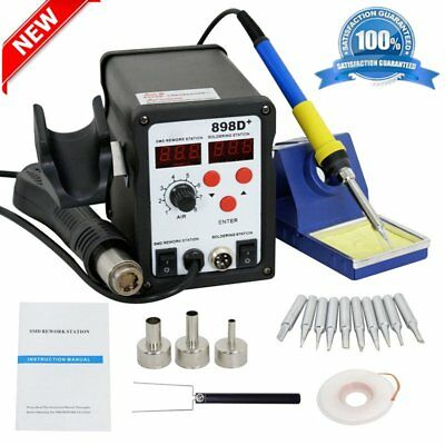 898D+ 2-in-1 Electric SMD Desolder Soldering Station Hot Air Gun with 11 Tips BB