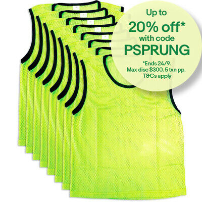 8PK Summit Small Size Sport/Soccer/Rugby Training Mesh Bibs/T-Shirt Vest Yellow
