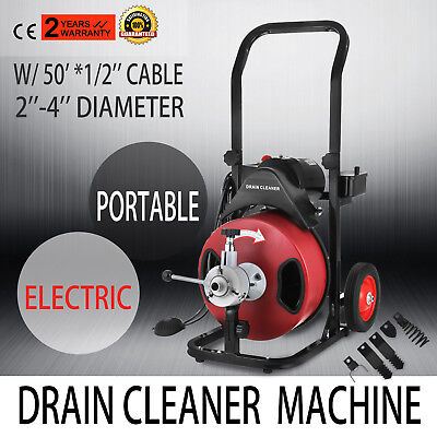 50FT*1/2'' Drain Auger Pipe Cleaner Machine Electric W/Cutter Plumbing GOOD