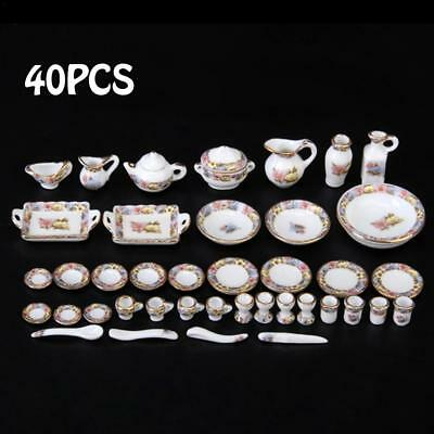 40pcs 1/12 Dollhouse Miniature Dining Ware Porcelain Tea Coffee Dish Cup Plate